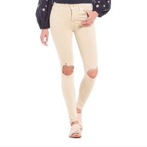 FREE PEOPLE Yellow Distressed Skinny Jeans Sz 27